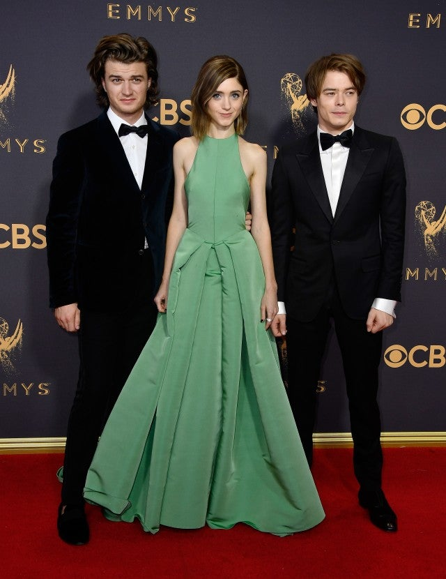 Actors Joe Keery, Natalia Dyer and Charlie Heaton attend the 69th Annual Primetime Emmy Awards at Microsoft Theater on September 17, 2017 in Los Angeles, California.