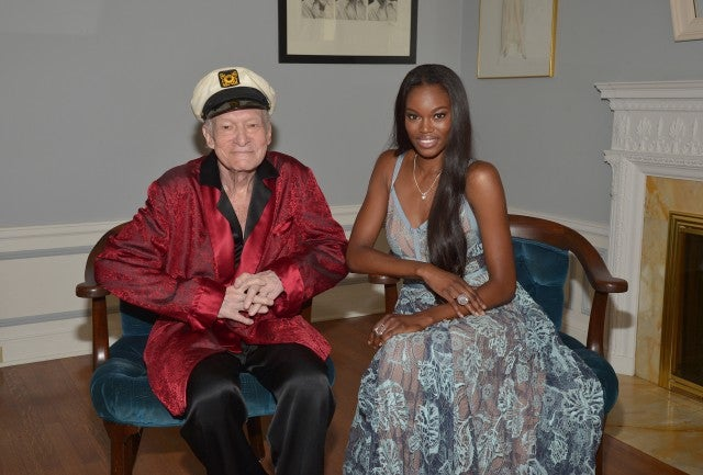 Hugh Hefner Playboy Mansion May 2016 with Playmate of the Year Eugena Washington