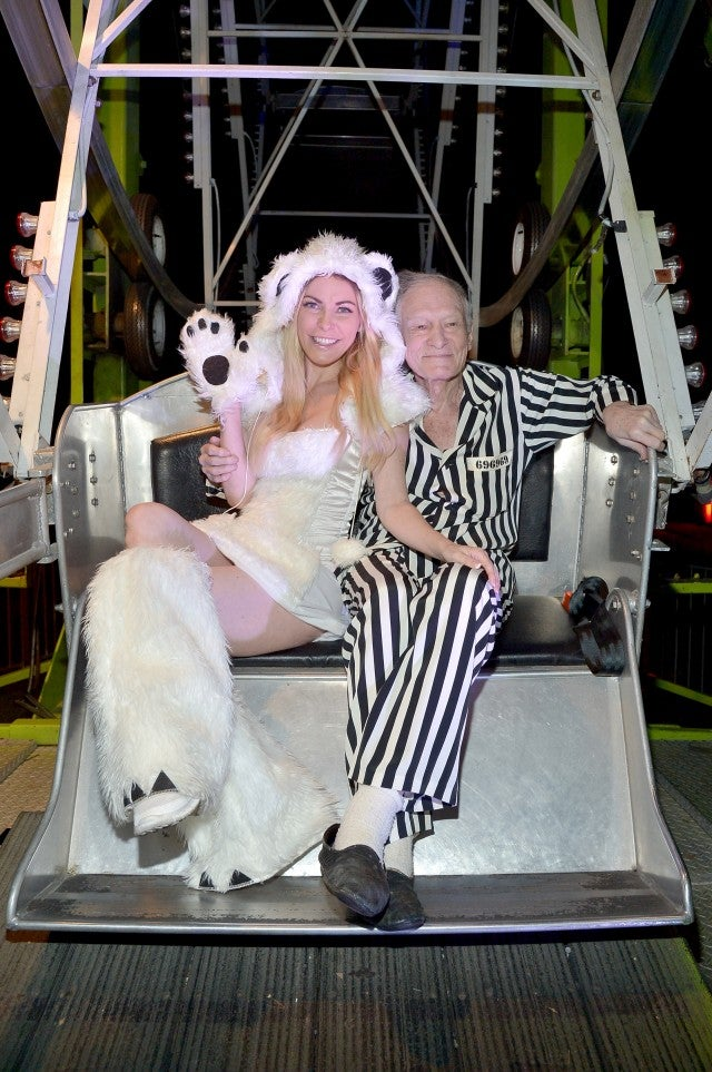 Hugh Hefner and Wife Crystal Hefner Playboy Mansion Halloween 2015