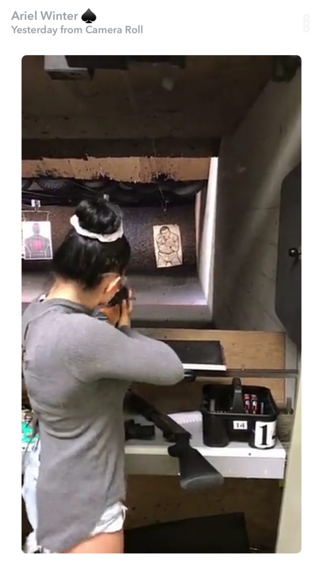 Ariel Winter Receives Firearm Safety Certificate After Licking Her
