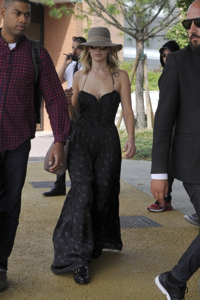 Jennifer Lawrence arriving to Venice Film Festival