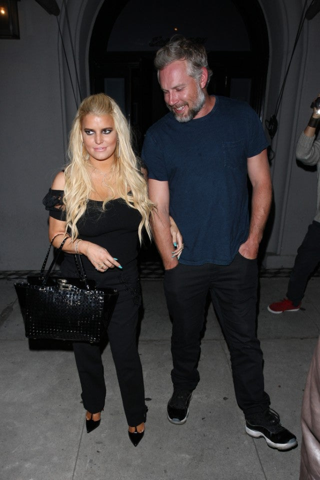 jessica simpsons husband sweetly saves her as she takes a