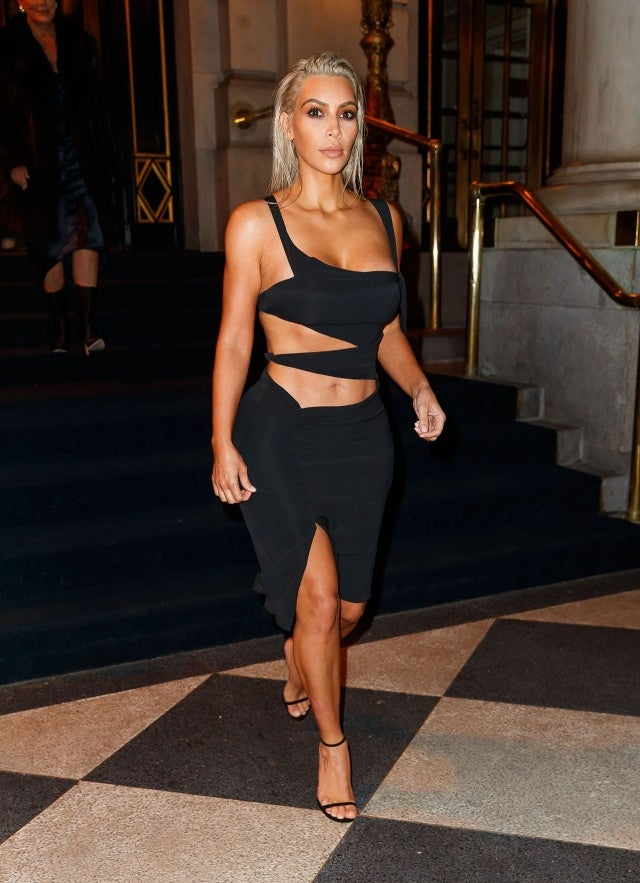 Kim Kardashian Keeps Her Platinum Locks, Rocks Sexy Cutout ...