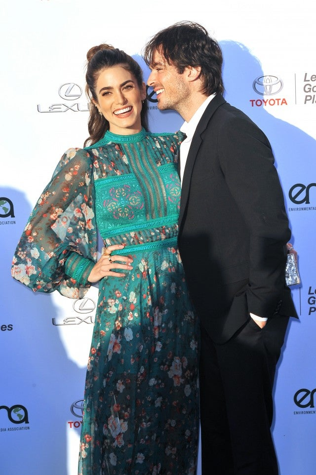 Nikki Reed (L) and Ian Somerhalder at the Environmental Media Association's 27th Annual EMA Awards at Barkar Hangar on September 23, 2017 in Santa Monica, California