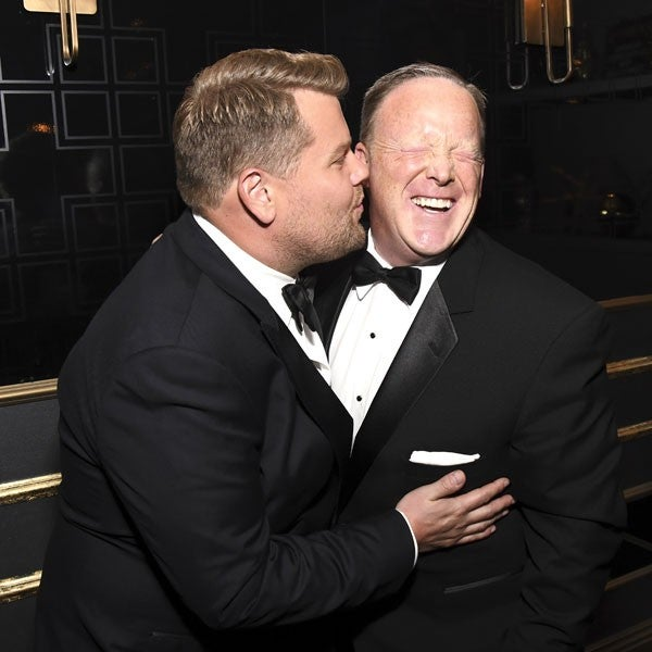 James Corden and Sean Spicer at Emmys