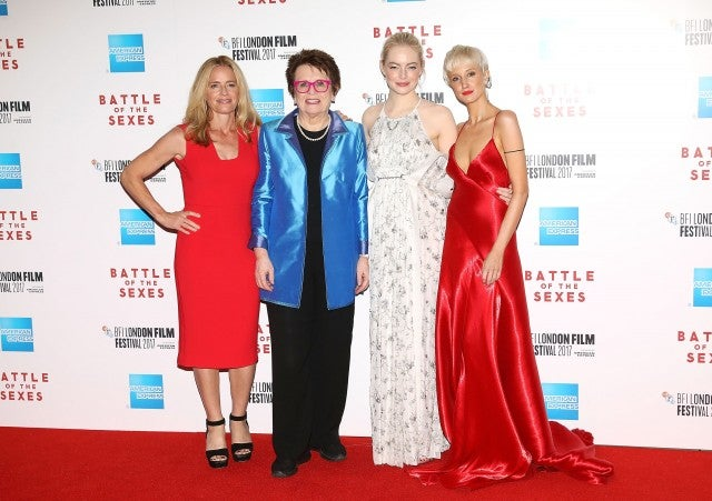 Billie Jean King and Emma Stone at Battle of the Sexes European Premiere