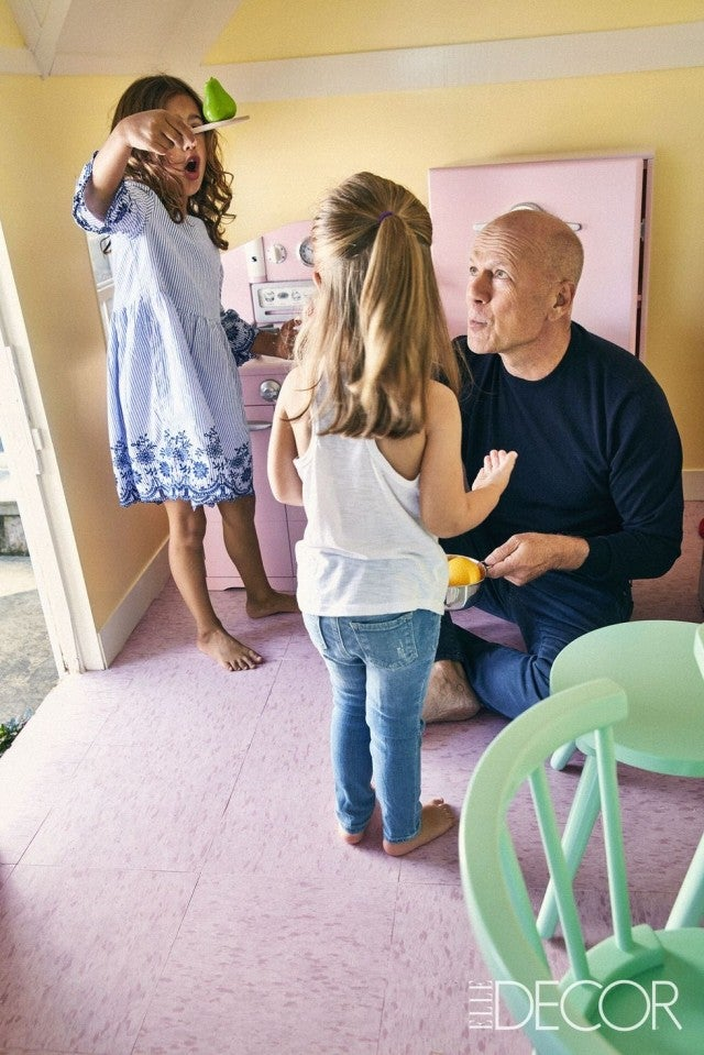 Bruce Willis at home with Daughter Evelyn and Mabel Ray, Elle Decor