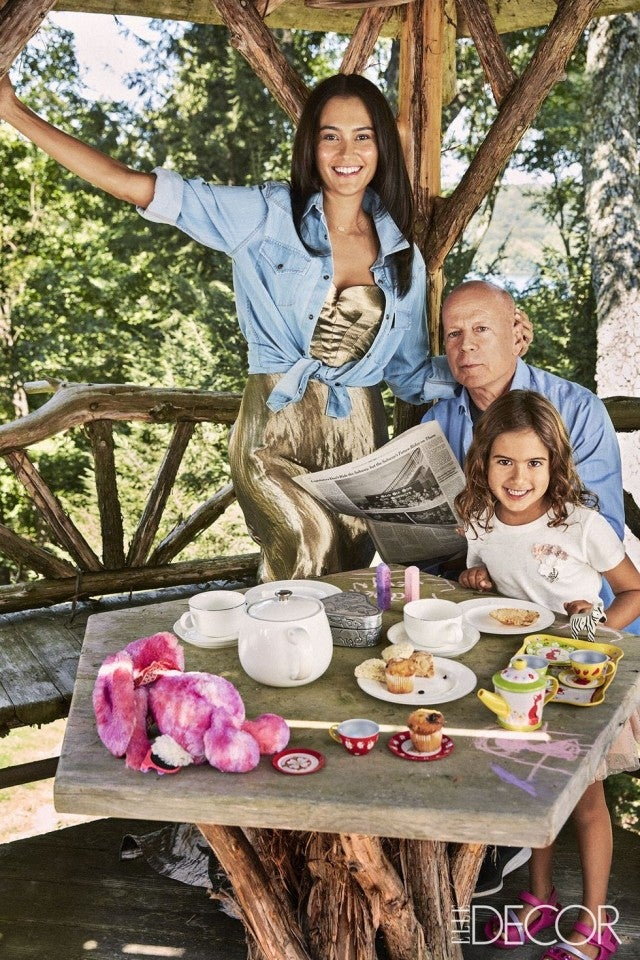 Bruce Willis and wife Emma with Daughter Mabel at Home Elle Decor