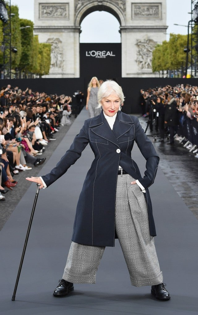 Helen Mirren posing at Paris Fashion Week 2017