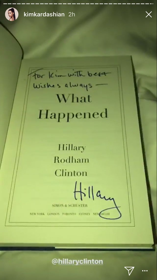Hillary Clinton signs book for Kim Kardashian