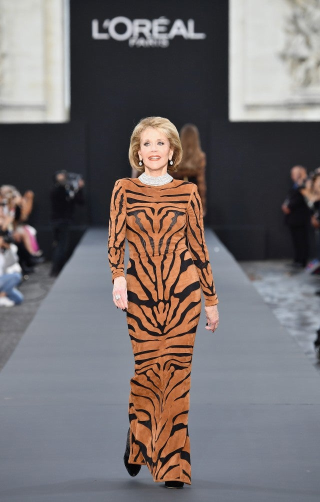 Jane Fonda walks the runway at Paris Fashion Week 2017