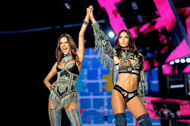 Alessandra Ambrosio and Lily Aldridge walk the runway at the 2017 Victoria's Secret Fashion Show in Shanghai, China