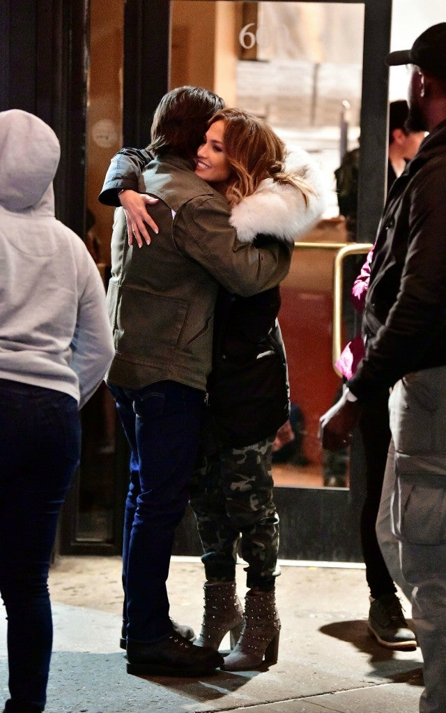 Milo Ventimiglia and Jennifer Lopez seen on location for 'Second Act'