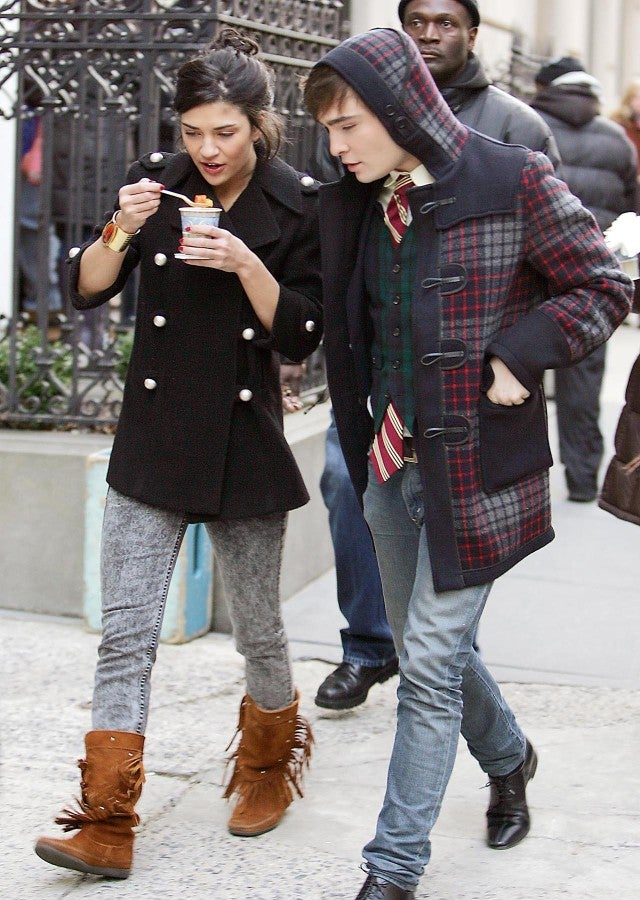 Jessica Szohr and Ed Westwick on the set of 'Gossip Girl' in 2009