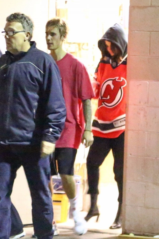 Justin Bieber and Selena Gomez attend his hockey game