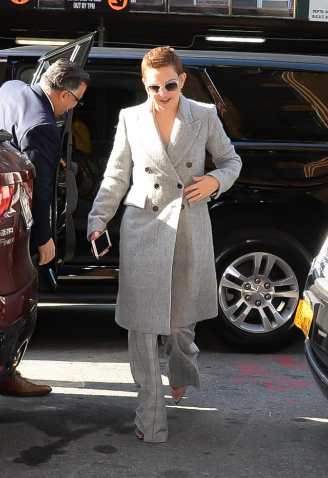Kate Hudson in gray coat in NYC