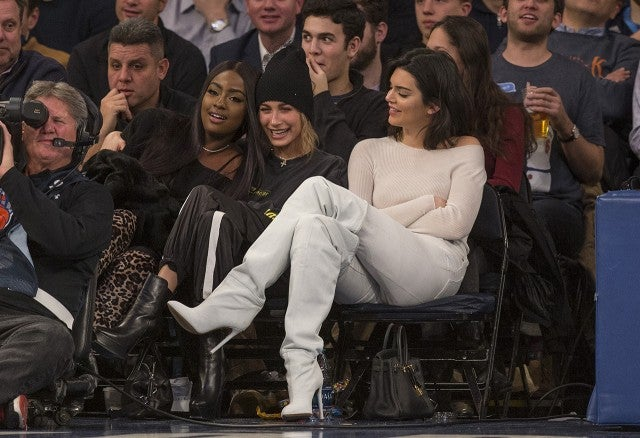 Kendall Jenner and Hailey Baldwin sit courtside