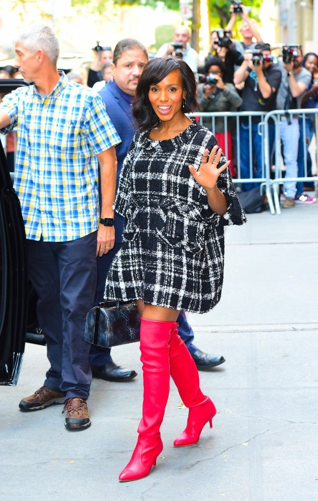 Kerry Washington in red boots in NYC