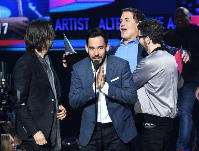 Mark Cuban and Linkin Park on stage at the 2017 American Music Awards at the Microsoft Theater in LA