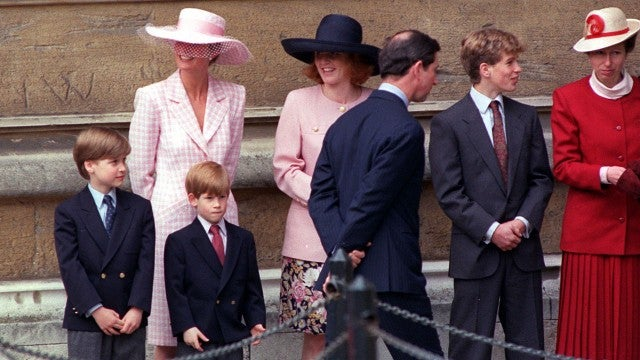 Young Prince William and Harry with Princess Diana