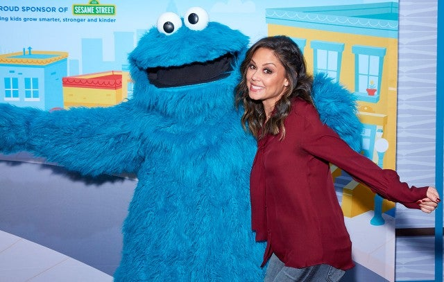 Vanessa Lachey and Cookie Monster
