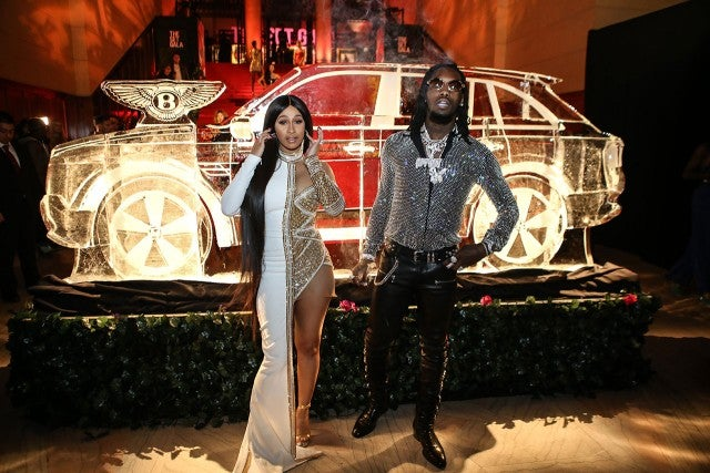 Cardi B and Offset with Bentley ice sculpture