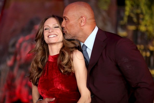 Lauren Hashian and Dwayne Johnson at Jumanji premiere