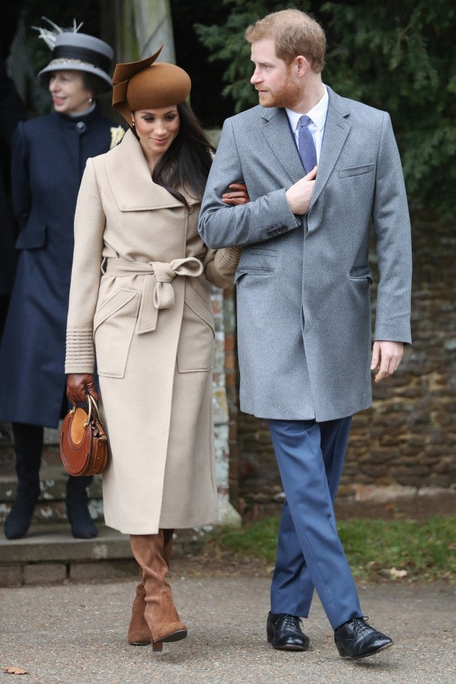 Meghan Markle and Prince Harry walk to Christmas Day service