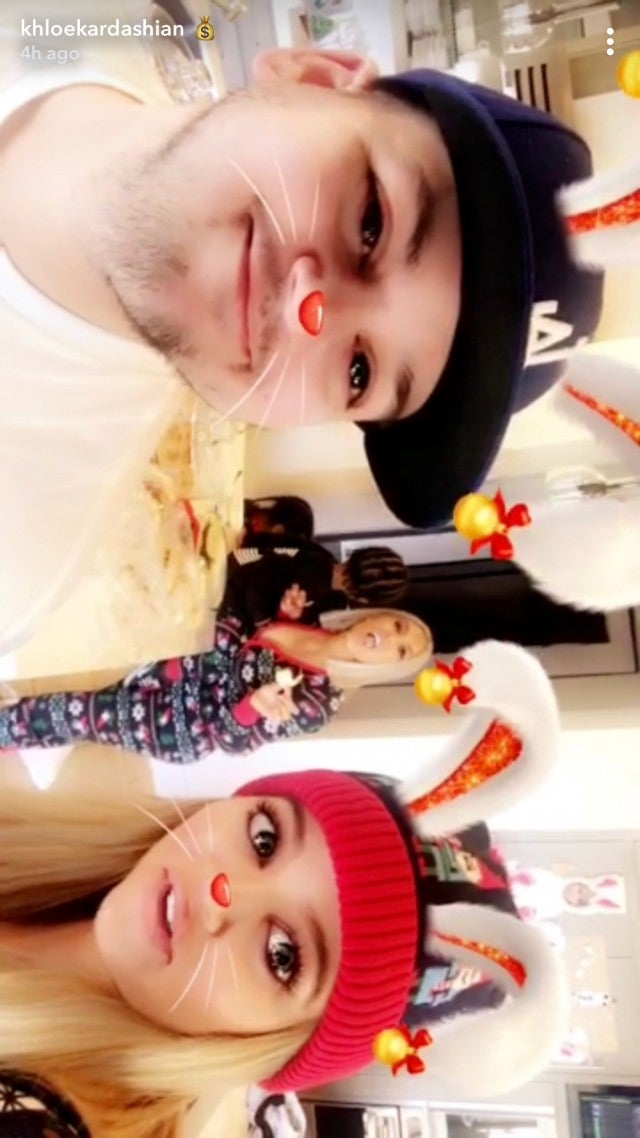 Rob Kardashian and Khloe Kardashian on Christmas