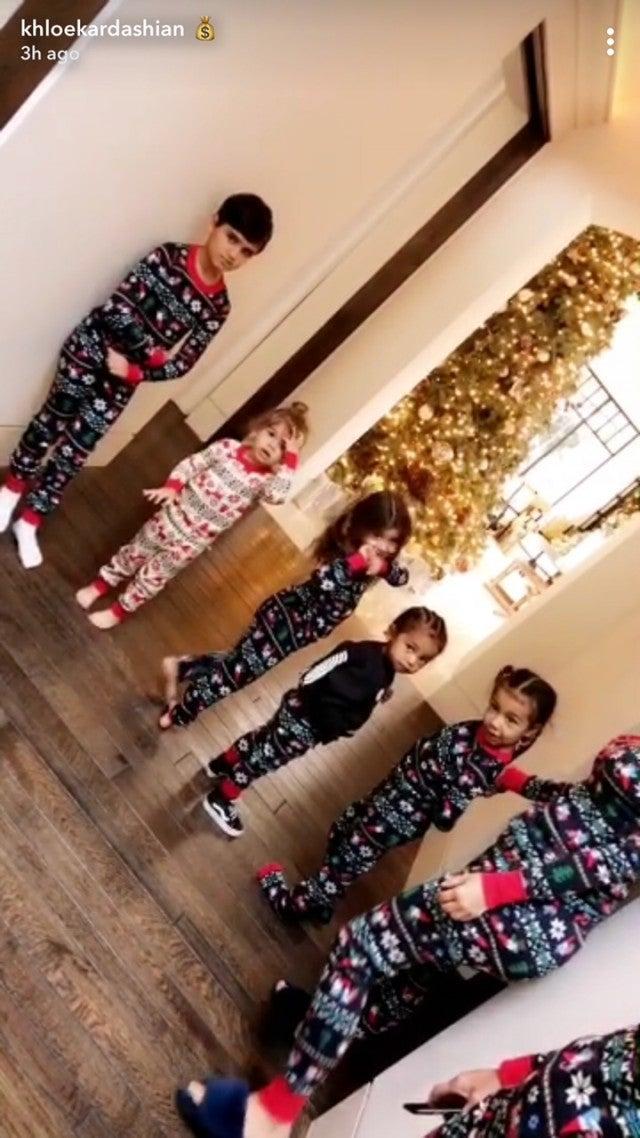 Kim Kardashian and Kourtney Kardashian's kids on Christmas