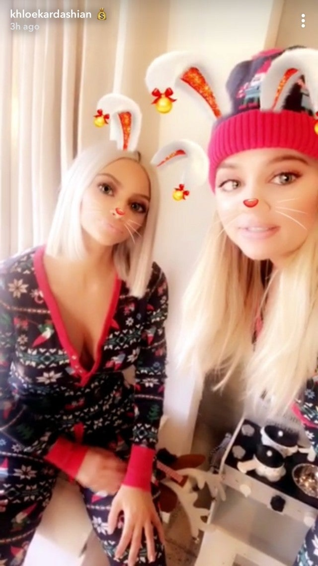 Kim Kardashian and Khloe Kardashian on Christmas