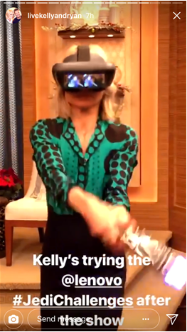 Kelly Ripa with star wars ar