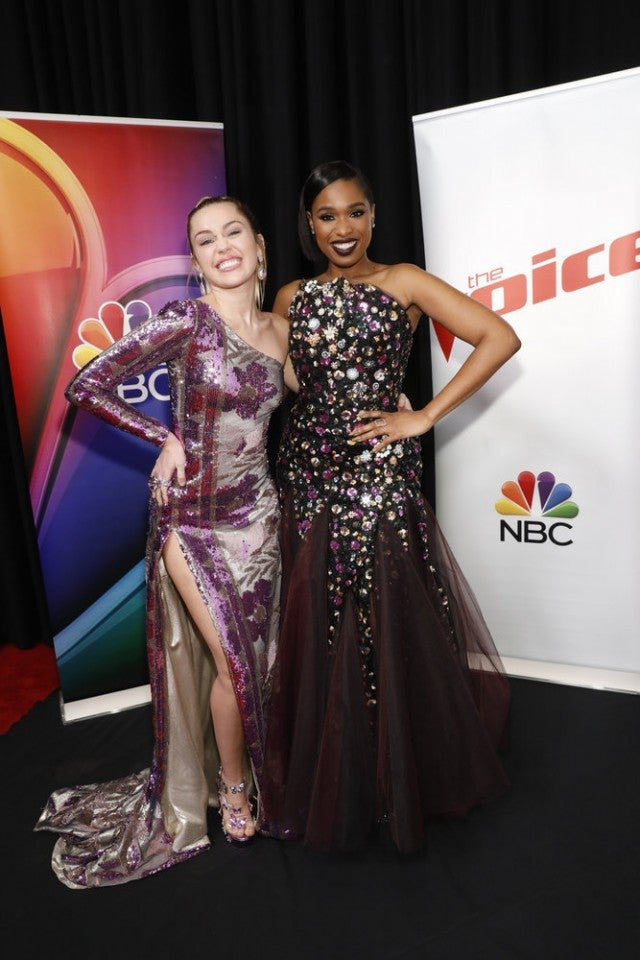 Miley Cyrus and Jennifer Hudson at Voice finale