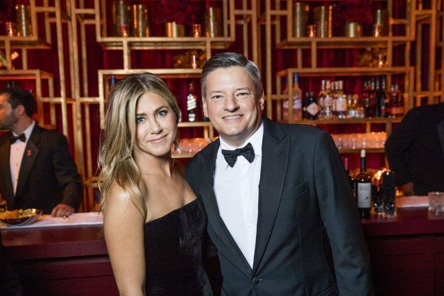 Jennifer Aniston, Ted Sarandos at Netflix Golden Globes party 2018