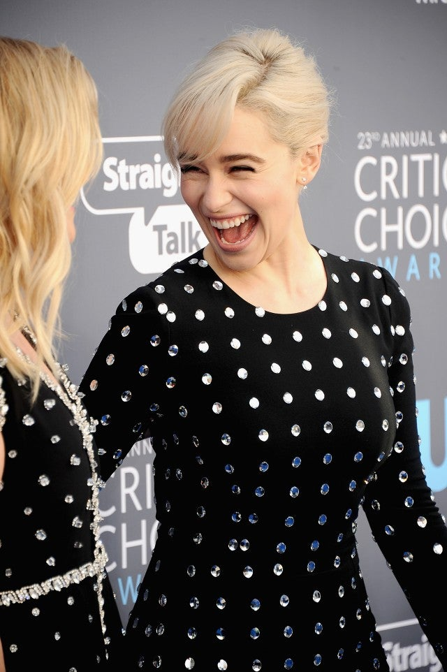Reese Witherspoon And Emilia Clarke Rock Matching Polka