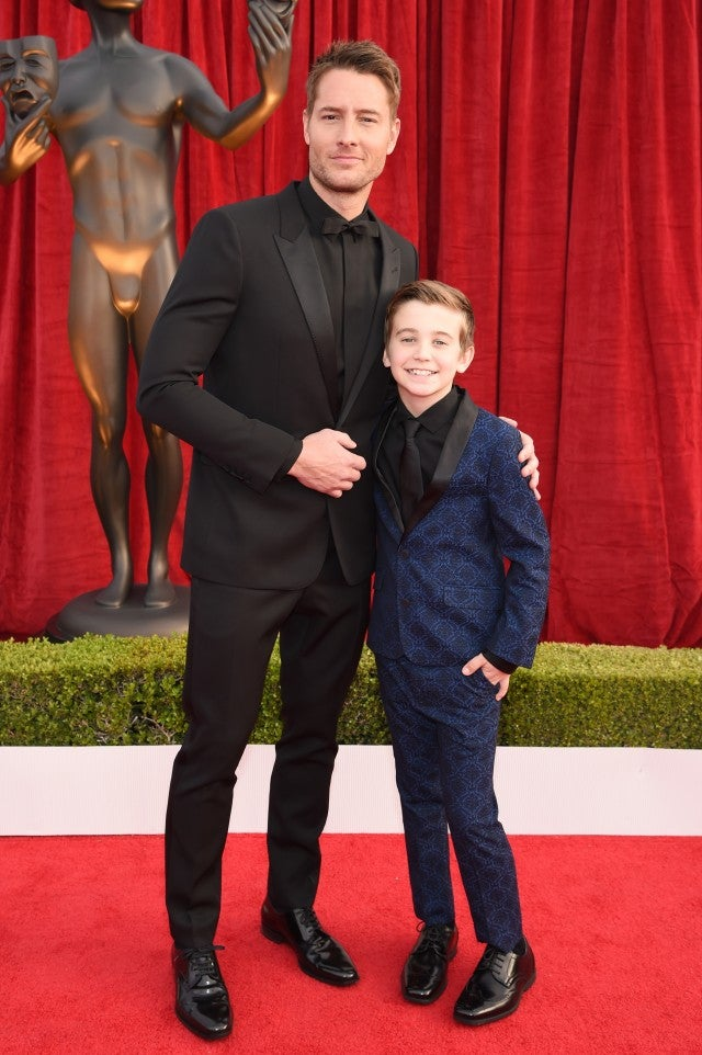 Justin Hartley with Parker Bates at the SAG Awards.
