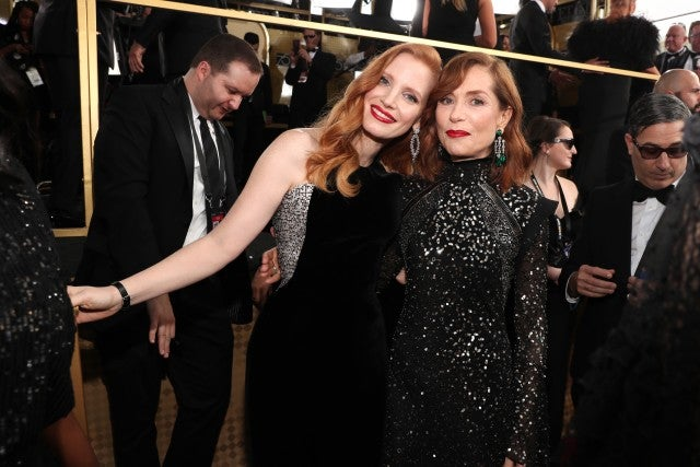 Jessica Chastain and Isabelle Huppert Golden Globes 2018