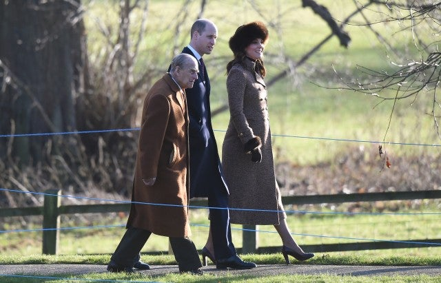 Kate Middleton heads to church with Prince William and Prince Philip.