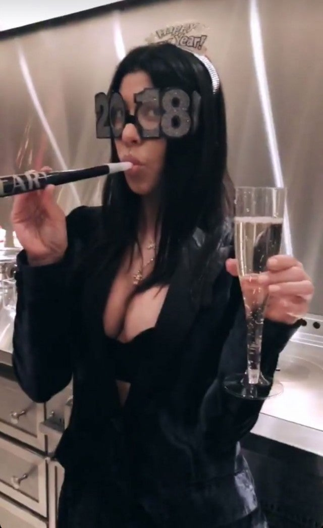 Kourtney Kardashian on NYE - Instagram Story