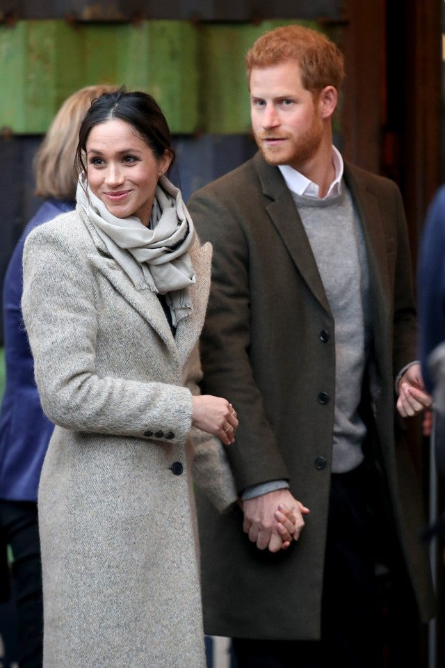 Meghan Markle and Prince Harry visit a radio station in London.