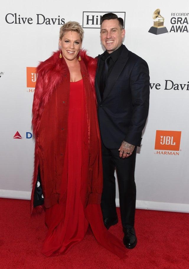 Pink and Carey Hart at Clive Davis