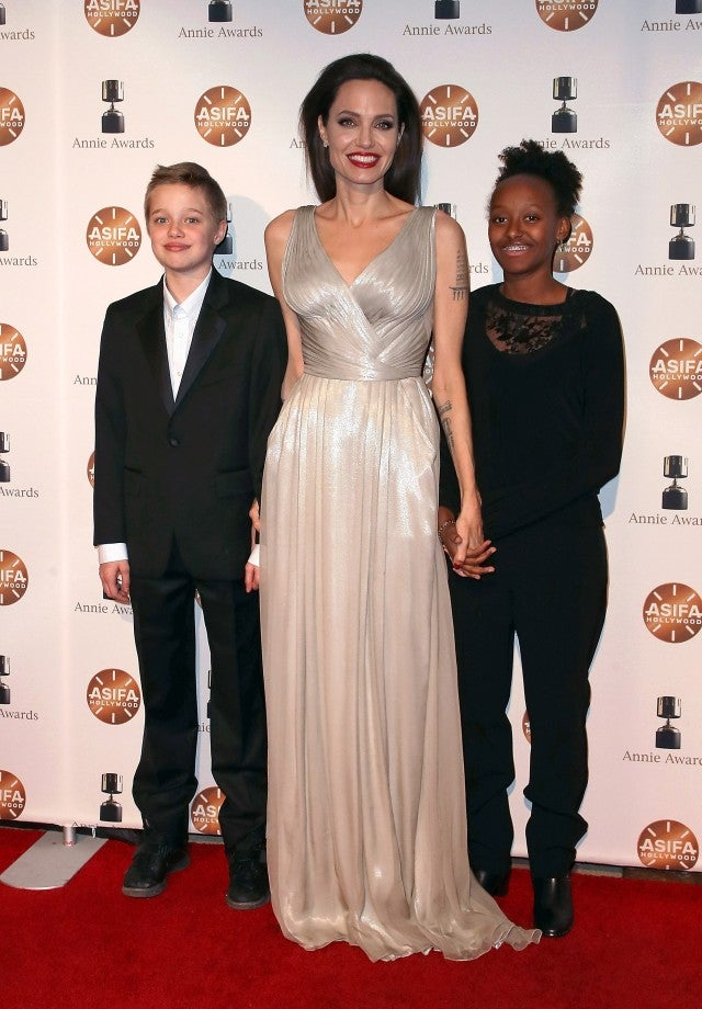 Angelina Jolie with daughters Shiloh Jolie-Pitt and Zahara Jolie-Pitt