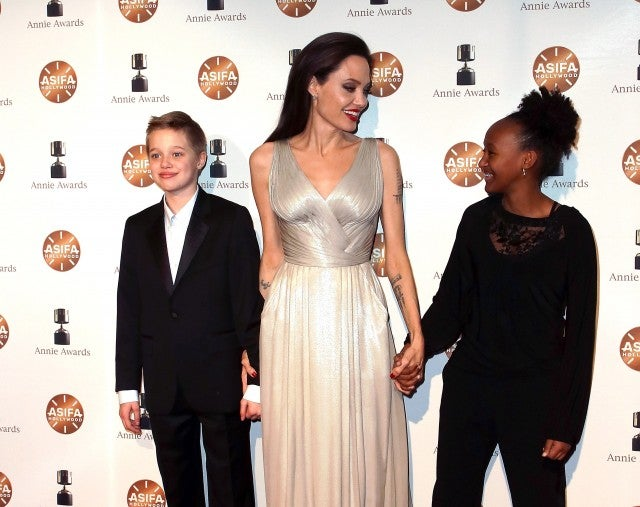 Angelina Jolie and daughters Shiloh Jolie-Pitt and Zahara Jolie-Pitt