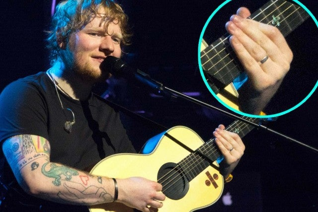 Ed Sheeran shows possible wedding ring during performance at O2 Arena in London on Feb. 19