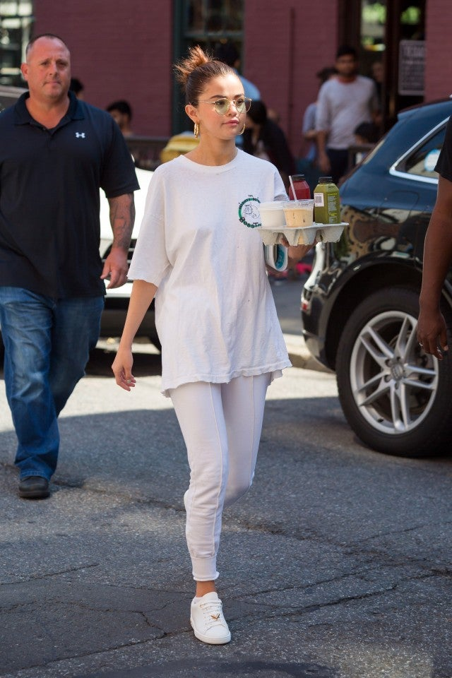 Selena Gomez in oversized white tee