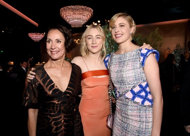Laurie Metcalf, Saoirse Ronan and Greta Gerwig at oscars luncheon