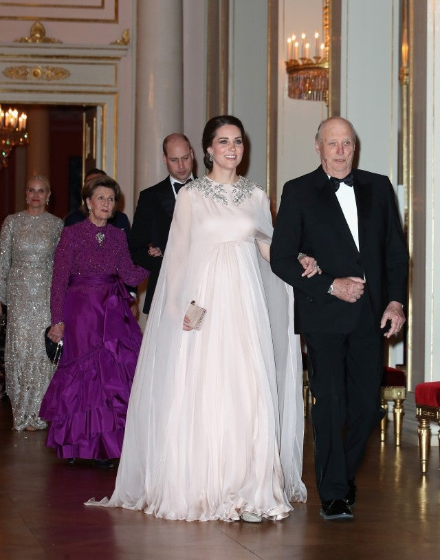 Kate Middleton attends an official dinner in honor of her and husband Prince William at the Royal Palace in Oslo, Norway.
