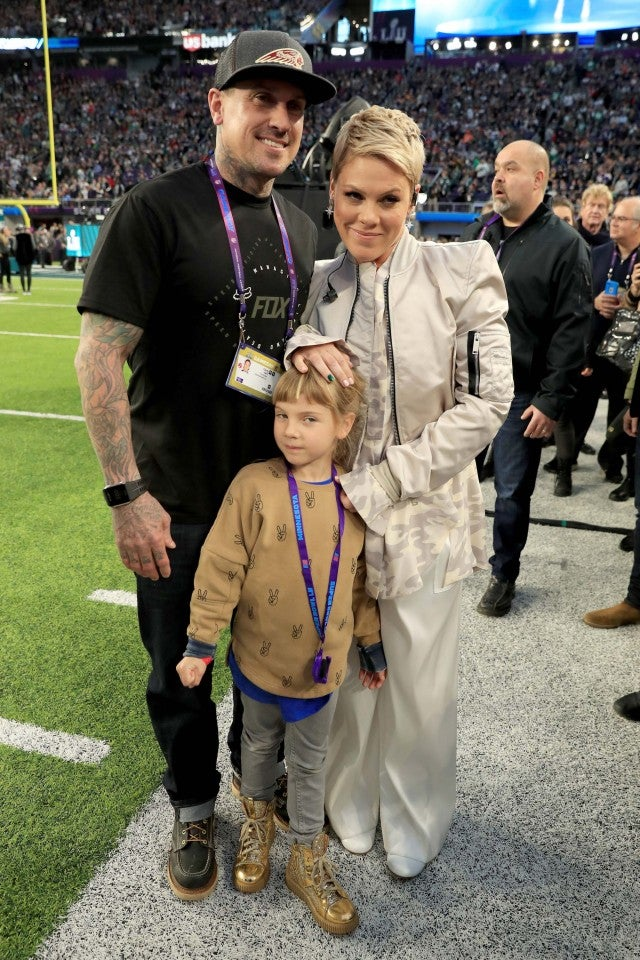 Pink, Carey Hart and Willow Hart at the Super Bowl