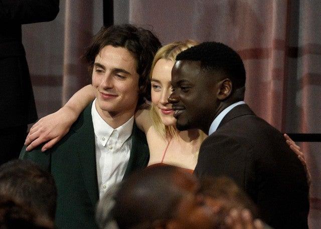 Timothee Chalamet, Saoirse Ronan and Daniel Kaluuya at the 2018 Oscars Nominee Luncheon
