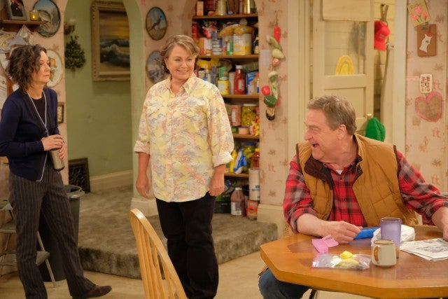 Dan Roseanne and Darlene on Roseanne